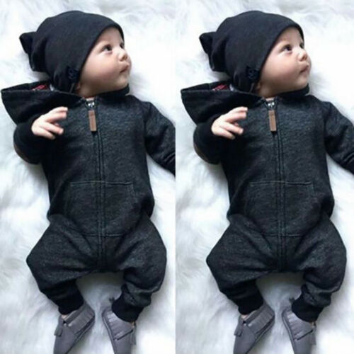 KE/_ Baby Infants Boys Girls Autumn Long Sleeve Black Hooded Romper Jumpsuit Cl