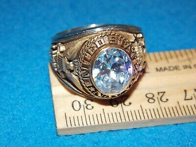 U.S NOS MARINES WOMEN/'S CLEAR STONE SIZE 4 RING ALPHA BRAND Details about  /VINTAGE