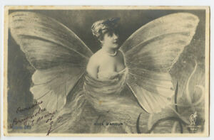 c 1904 Glamour Lovely Lady BUTTERFLY FANTASY Undivided Back photo postcard