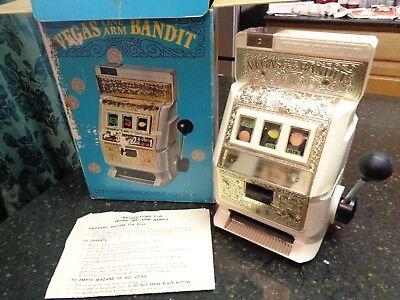 Vintage Poynter 1972 Las Vegas One Arm Bandit Ten Cents Slot Machine Bank Box Ebay