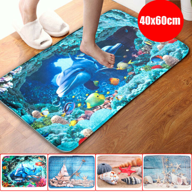 3Pcs/Set Dolphins Bathroom Floor Non-Slip Pedestal Rug+Lid Toilet Cover+Bath