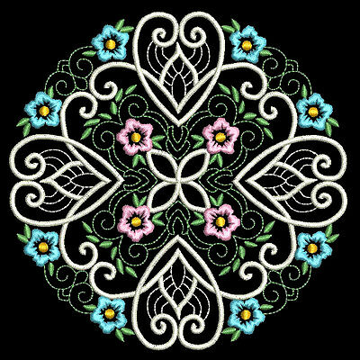 CURLY BAROQUE FLOWERS - 30 MACHINE EMBROIDERY DESIGNS (AZEB)