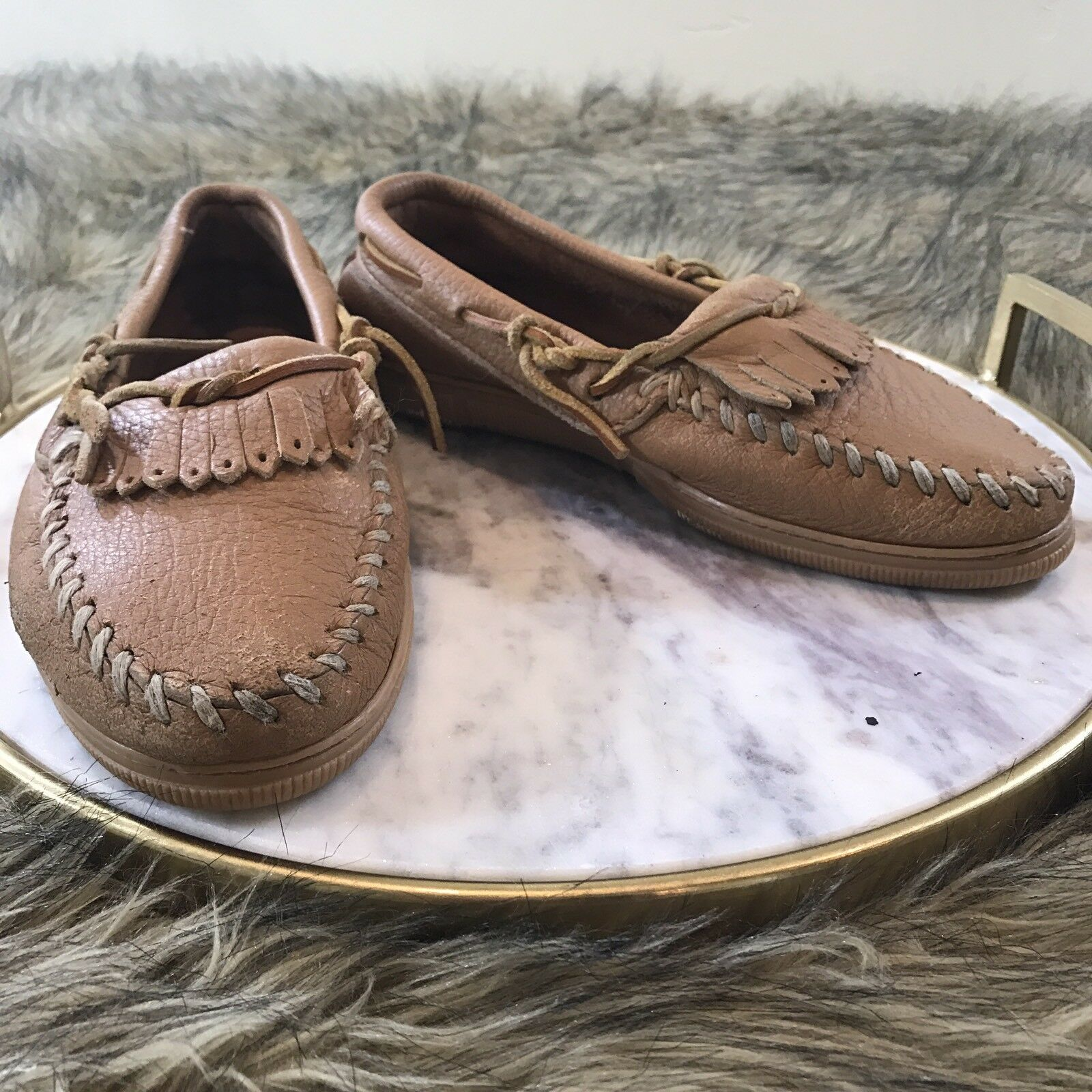 Minnetonka Women's M Sz 5 / 6 M Women's Tan Leather Fringe Moccasin Loafer Shoes 96a77a