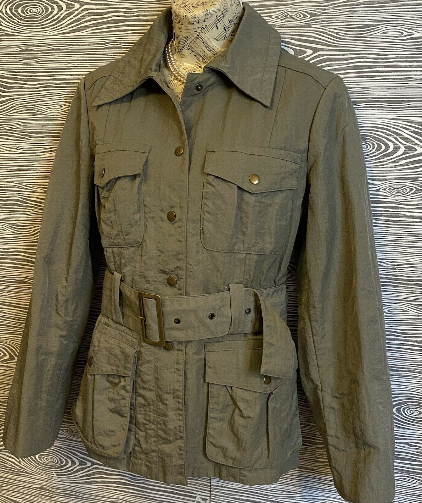 J Jill Olive Green SILKY BELTED Military TRENCH C… - image 7
