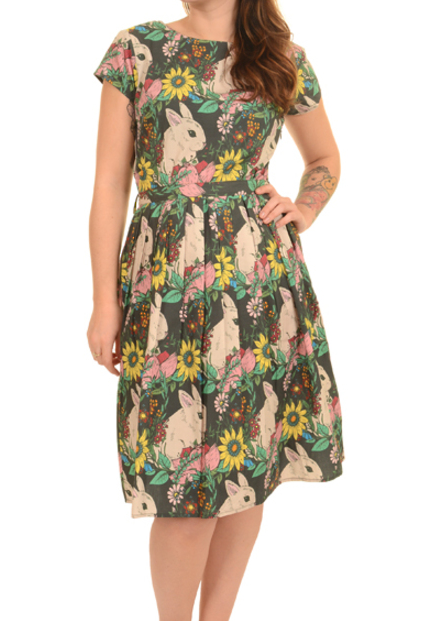 Damen Run & Fly Indie Retro Vintage 50er Nachmittagskleid Style Hase