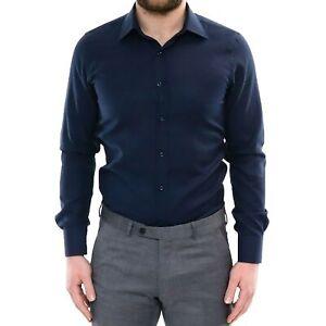 Camicia-Uomo-Cotone-Slim-Fit-Classica-Sartoriale-Elegante-a-Manica-Lunga-Blu