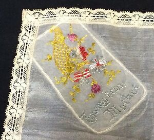 VTG-Handkerchief-Embroidered-To-My-Dear-Mother-Lace-Edged-Floral-Bouquet-Hankie