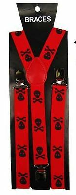 Diszipliniert Unisex Novelty Fancy Dress Fashion Braces Red & Black Skull And Crossbones Print