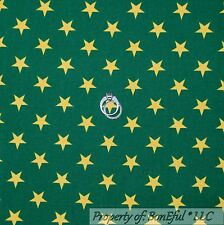 BonEful Fabric FQ Cotton Quilt VTG Green Gold Xmas Tone Star Stripe Harry Potter