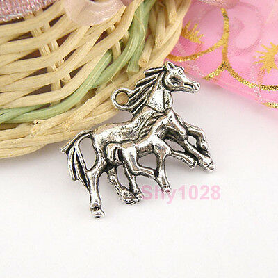 4Pcs Tibetan Silver Mother-child Horse Charms Pendants 22x30mm LA4042