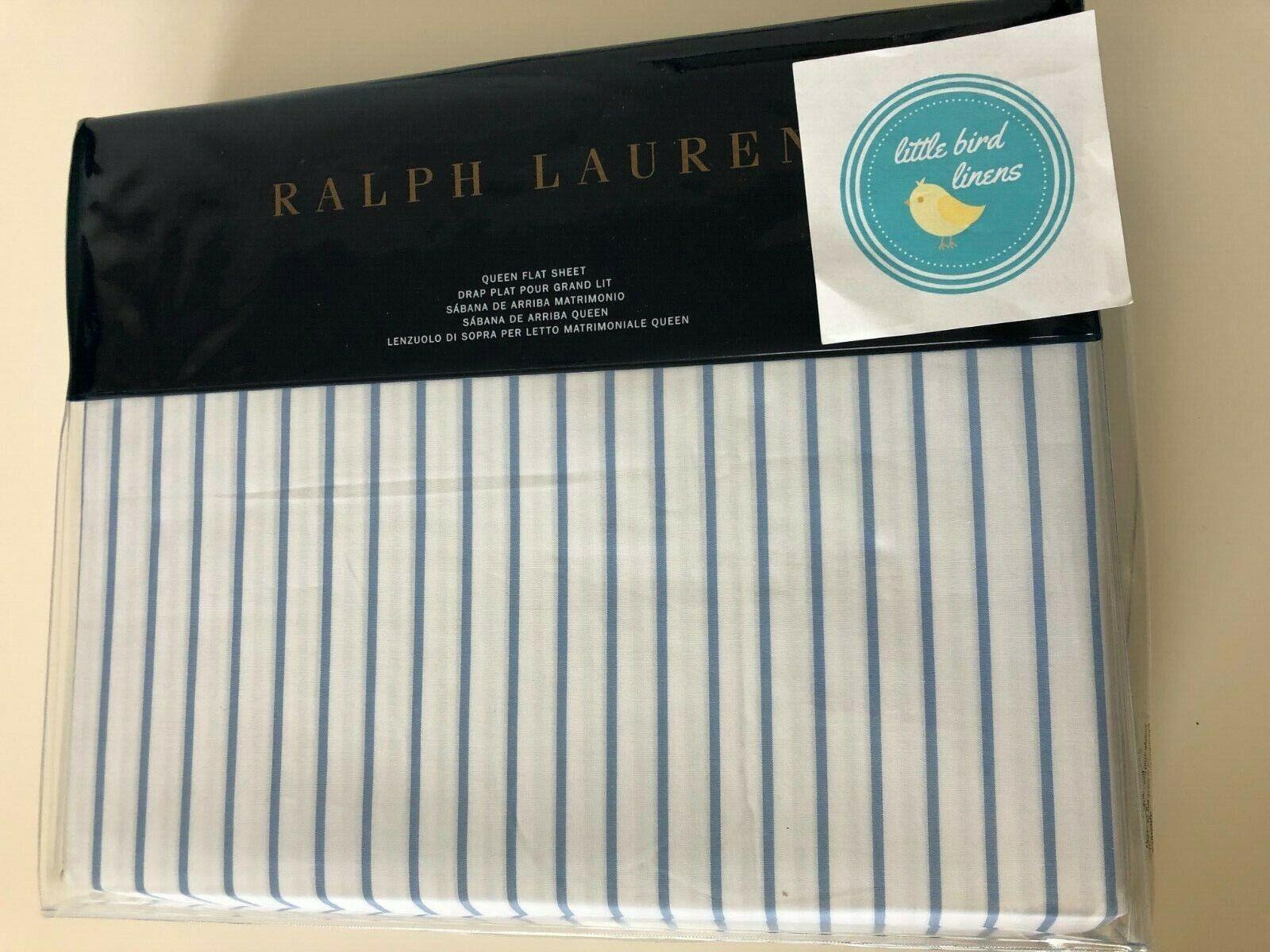 Ralph Lauren Königin Flat Sheet Meadow Lane Brennon Blau & Weiß Stripe Fac Folded