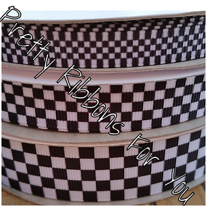 Black White Checkered 15 Grosgrain Ribbon The Listing Is For 4 3
