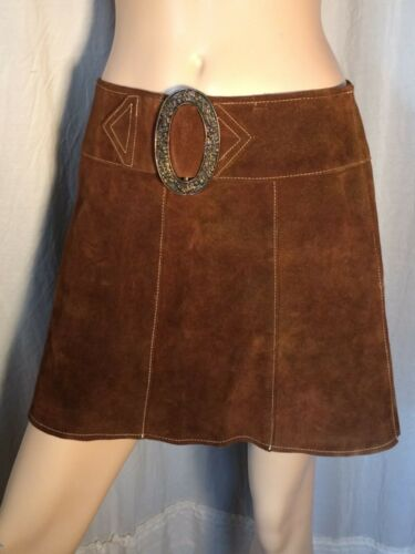 vintage Brown suede leather Mini Skirt 60's hip hu