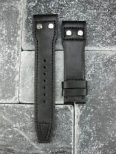 New 22mm IWC Black CALF Leather Strap watch Band Rivet BIG PILOT Black Regular