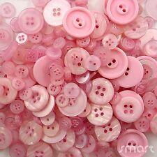 50pcs Assorted Bulk Pink Theme Round Resin Buttons Lot Craft Sewing Scrapbook