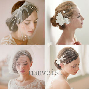 Wedding-headdress-Bridal-Feather-net-bow-Birdcage-Face-Veil-Fascinator-veils-cap