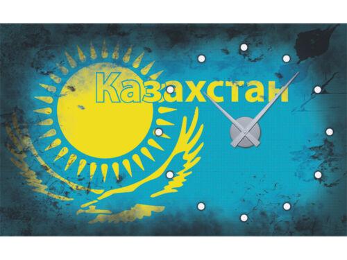 Wandticker Uhr Wanduhr inkl Uhrwerk für Wohnzimmer Spruch Kasachstan Flagge
