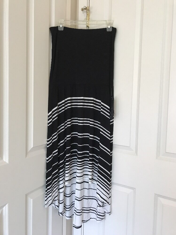 Womens INC International Concepts Striped  Blk Wht Congreenible Maxi Skirt Sz L