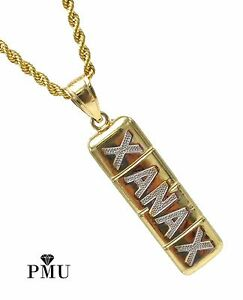 XANAX 10k Yellow Gold Pendant with Rope Chain 22 Set Hiphop Jewelry