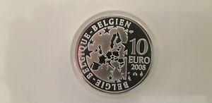 Belgique 2008 - 10 euro argent - Maurice Maeterlinck - L'oiseau bleu colorisé