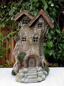 Miniature FAIRY GARDEN House ~ Tall Tree Stump House Cottage w LED Light ~ NEW