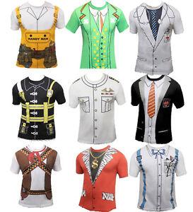 Adult-Men-Printed-T-Shirts-Stag-Do-Fancy-Dress-Doctor-Cowboy-Geek-Nerd-Costume