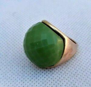 Extrêmement Antique Bronze Ring Artifact Bronze Bague pierre verte authentique