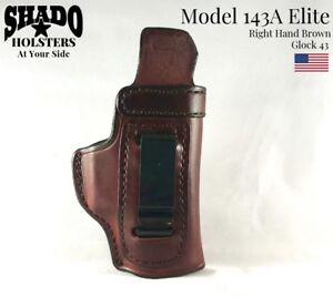 SHADO-Leather-Holster-USA-Elite-Model-143A-Right-Hand-Brown-fits-Glock-43-Brand