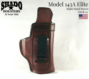 SHADO Leather Holster USA Elite Model 143A Right Hand Brown fits Glock 43 Brand