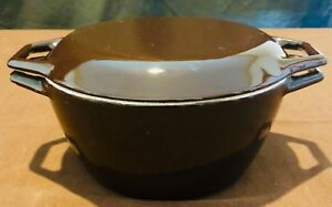 Vintage-Copco-Denmark-8-034-Dutch-Oven-Pot-Cast-Iron-Brown-Enamel-w-Lid