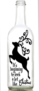 Vinyl Decal Sticker for Wine bottle diy FANCY REINDEER LOOK LIKE CHRISTMAS
