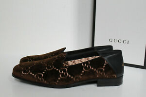 b0f12f731 Details about New sz 7 US / 6 G GUCCI GG Logo Brown Velvet Loafer Men's  Slip on Shoes