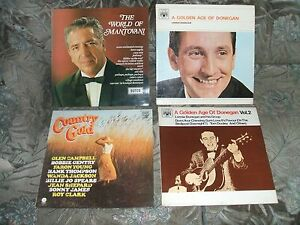 4-OLD-LP-RECORDS-DONEGAN-MANTOVANI-AND-COUNTRY