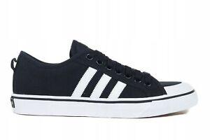 Adidas NIZZA Men's Shoes Canvas Athletic Flat Trainers Black ...