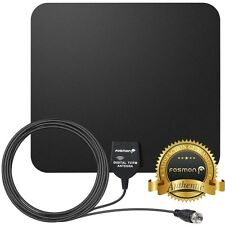 Fosmon [25 Mile] Thin Flat Indoor Wall Window HDTV HD TV Antenna 16FT Coax Black