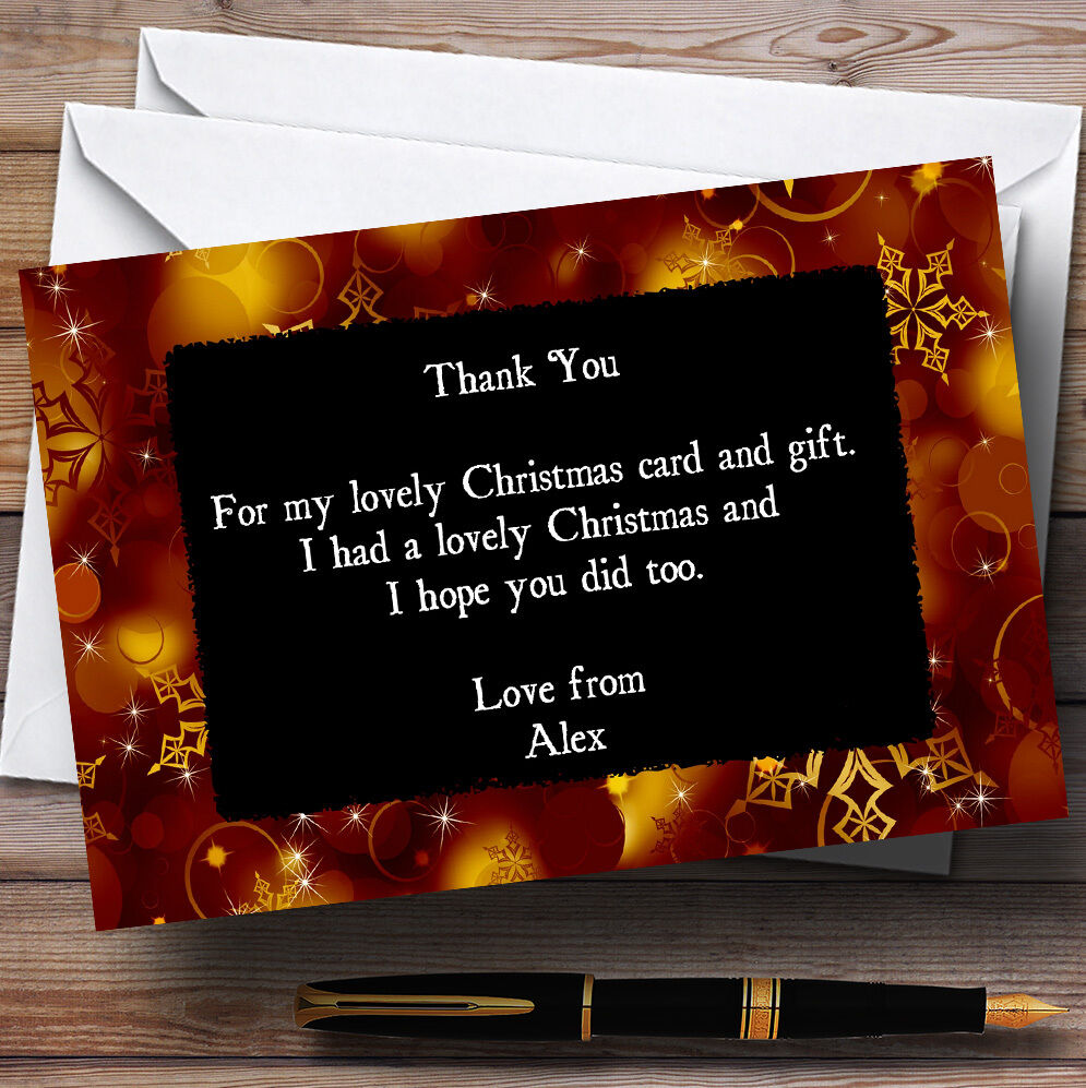 Golden Snowflakes Personalised Christmas Party Thank You Cards