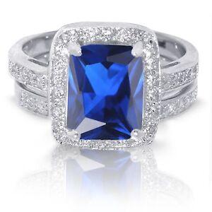large emerald cut blue sapphire wedding engagement