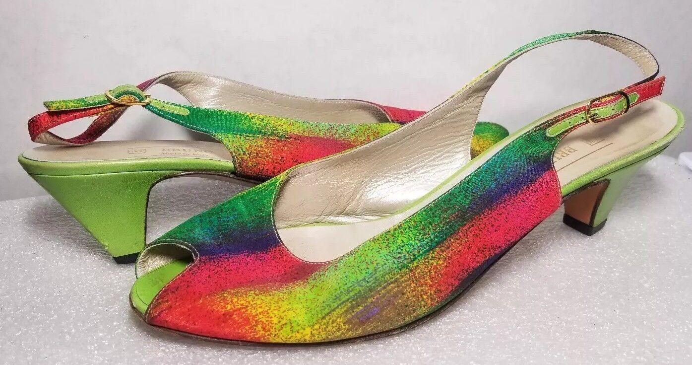 Bruno Magli Rainbow Peep Toe Sling Back Kitten Heel chaussures Taille 9AAA Lime vert