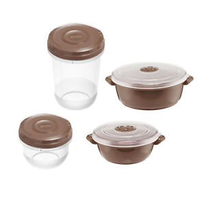 8pc-MICROWAVE-POT-Food-Bowl-STORAGE-CONTAINER-Vented-Microwavable-Pots-BROWN