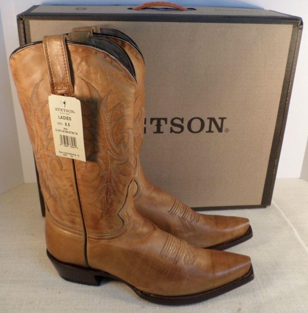 caldo STETSON 1202161050738 SNIP TOE TAN TAN TAN donna WESTERN stivali NEW IN BOX  merce di alta qualità e servizio conveniente e onesto