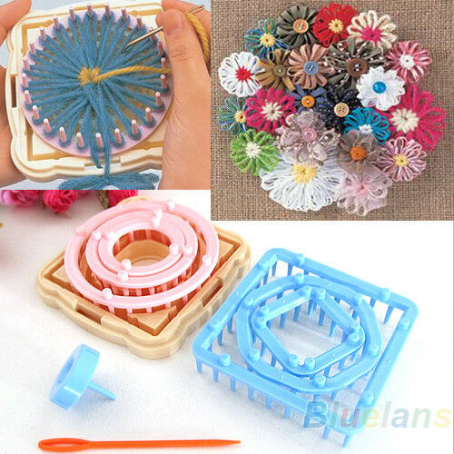 9pcs Knitting Loom Crochet Flower Maker Wool Yarn Needle Home Craft