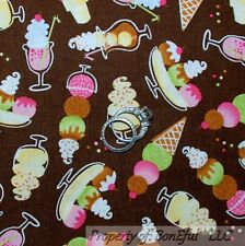 "By 1//2 yard Ice cream cookie sundae on pink fabric 100/% cotton 44/"" wide"