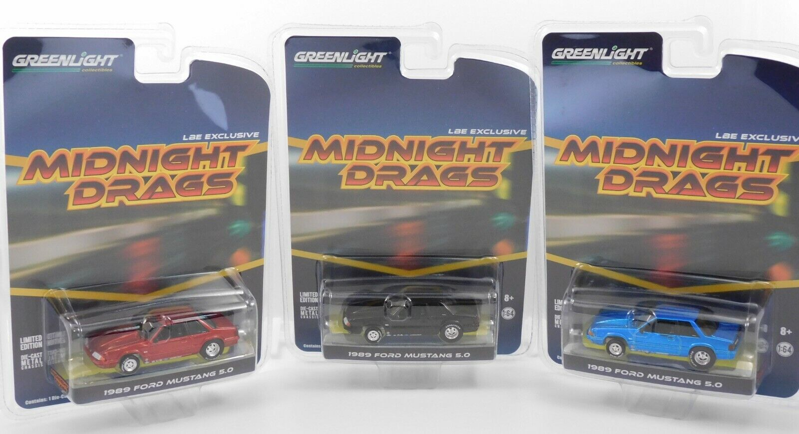 2019 Greenlight 1989 FORD MUSTANG LX 5.0 LBE Exclusive Midnight Drags 3 Car Set