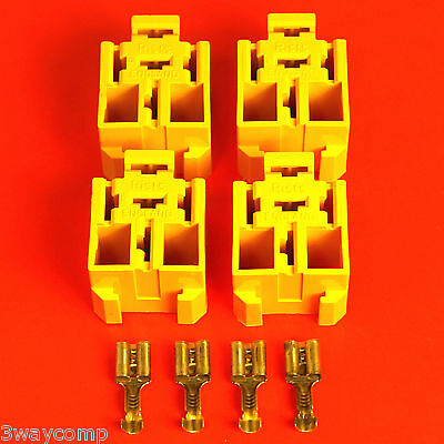 Yellow Relay Base Holder x 4 By Lucas Rist +20 Terminals-Suitable 4/5 Pin Relay