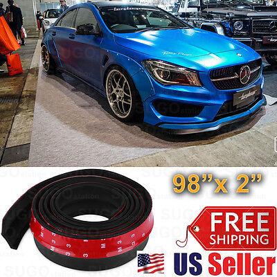 "2""x2.5M Black PU Front Bumper Lip Splitter Body Spoiler Skirt Rubber Protector"