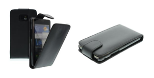 Housse Etui Coque Luxe cuir Noir ~ Nokia Asha 303