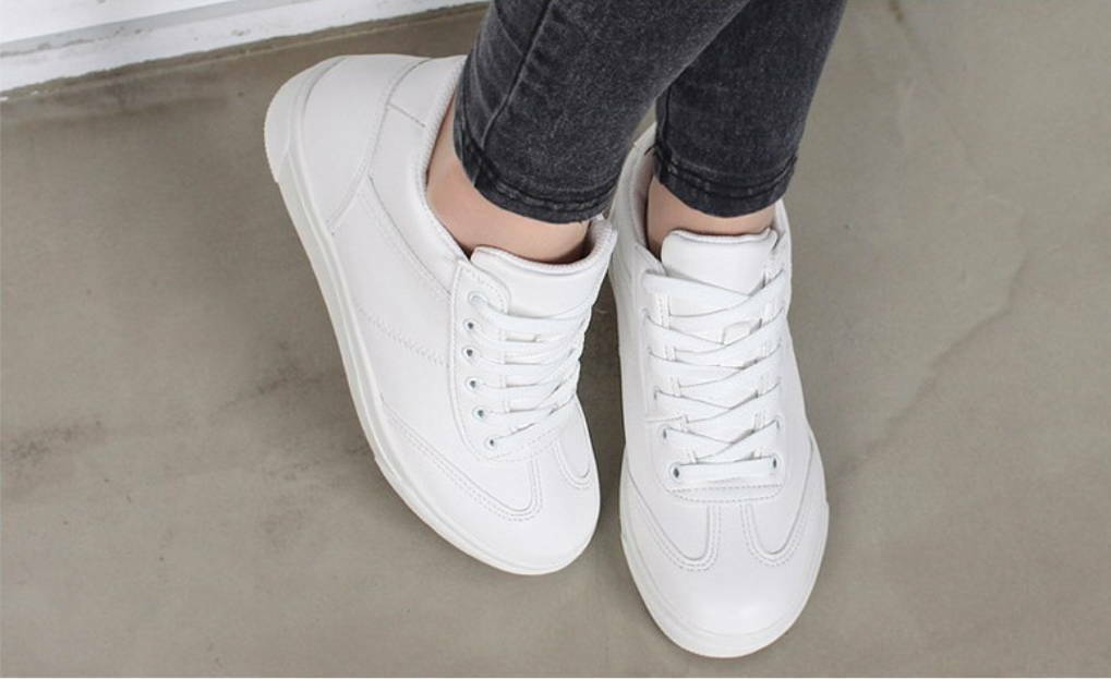 New Women's Casual Casual Casual Simple Comfy Cute Lace Up Mid Heels Wedges Sneakers Trainers 68efdf