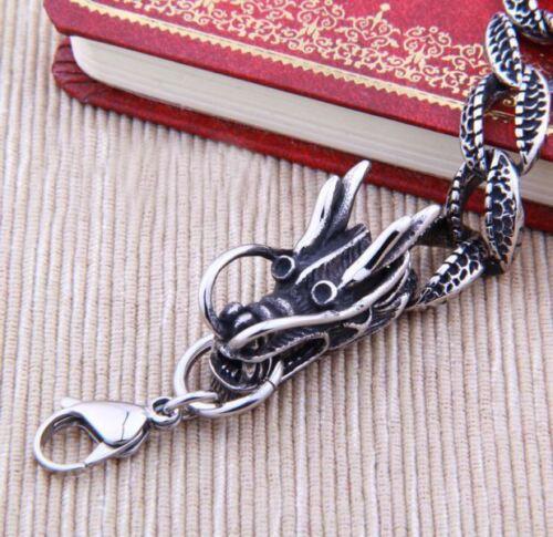 Pulsera de cadena joyería para Hombres dragón acero inoxidable Moda plata Regalo