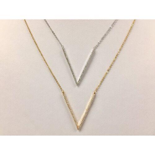"""Kette Halskette Kurze Kette mit strassbesetztem /""""V/"""" Anhänger Silber oder Gold"""