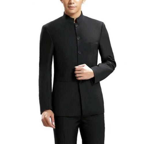 Herren Einreihige Jacke Anzug Chinesisch Zhongshan Mantel Mandarine Kragen